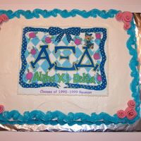 Alpha Xi Delta Reunion I am attending my sorority reunion tomorrow and offered to make a cake. I went the easy route and did an edible image. Pink fondant ribbon...