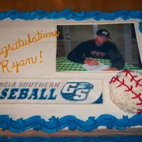 High School Graduation Cake Half chocolate, half vanilla, stacked sheet cake. Buttercream with edible images. Picture is of the grad signing his baseball scholarship...