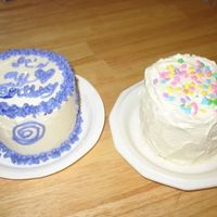 Birthday Cakes For Me!  I bought the Wilton Mini Tasty-Fill pans. I made Vanilla - Cardamom batter, filled the hole inside with some buttercream flavored with...