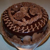 Yellow Cake, Chocolate Buttercream, Chocolate Ganache, Chocolate Buttercream Roses