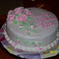 40Th Birthday--Sister-In-Law It didn't really look that glittery--the flash made it look a little gaudy. It waspretty--with strawberry buttercream filling.