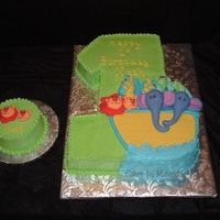 Noah's Arc Created for a 1st birthday, BC with fondant animals, and a matching smash cake.