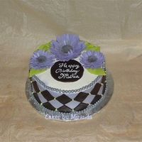 Purple And Black Checks With Gumpaste Gerberas