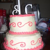 Monogram Bridal Shower Cake This was made for my sister in law.. it is their wedding colors and monogram! She loved it!