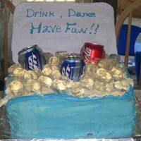 Cooler Cake This cake was made for an end of summer party. The ice cubes are clear jello, the cans are real with the bottom cut off and placed in the...