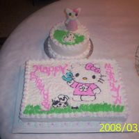 Hello Kitty And Dog Final View Cake was created for the 3 year old granddaughter of my husband'sco-worker. Cake is a yellow butter cake with butter cream frosting....