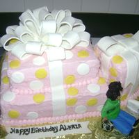 Birthday Presents Butter cream with FondantThe little girl loves her Wii game and soccer ball (all made out of Fondant)