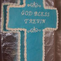 Cross Baptism Cake   I made this for my brother-in-law's nephew.