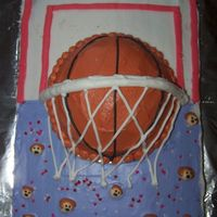 My Daughter's Basketball Cake I made this last week for my daughter's 10th birthday. I messed up a little on the net and I still have a problem with my frosting...