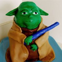 Yoda   I used my Wilton Winnie the Pooh pan and covered the cake with fondant.