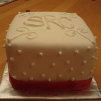 Fondant Cake With Monogram fondant cake with buttercream monogram and accents