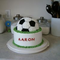 3-D Soccer This is an 8 inch round with a half ball cake on top; iced in buttercream. I had a hard time getting the pattern to match up on the back of...