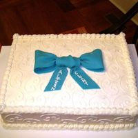 Birthday Bow An 11x18 sheetcake with Earlene's shelf stable cream cheese icing (tastes nothing like regular cream cheese icing). The bow is MMF. I...