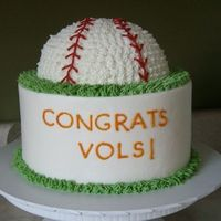 Baseball Cake This is a pretty popular cake of mine. 8 inch round with 1/2 ball pan on top. Buttercream icing.