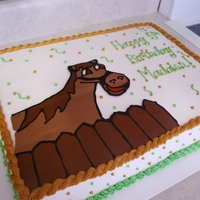 Horse Sheet Cake This is an 11x15 sheet cake. Horse is a chocolate transfer. Remaining decorations are buttercream.