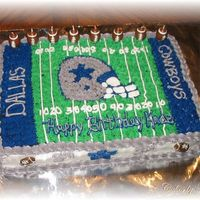 Dallas Cowboys Birthday This cake was requested by a good friend. Her son was turning 8 and loves the Cowboys. I am a Green Bay Packers fan so I put a tiny BF #4 (...