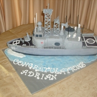 Anzac Class Frigate Took 4 days to complete! Mud cake covered with fondant and GP .Modeled on HMAS Adelaide.