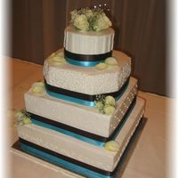 "Wedding Cake This is my second wedding cake... and my biggest cake ever. I was nervous, but everyone loved it! Dark Brown and ""Tiffany Blue""..."