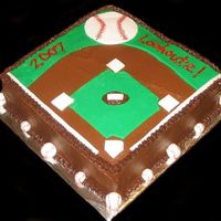 2007 Lookoutz! I made this cake (with ideas from this site!) for my son's year end baseball party. BC icing, fondant accents.