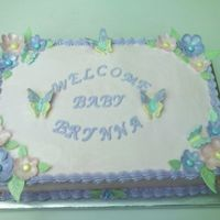 Baby Shower Cake For Friend Of The Family White cake with chocolate marshmallow filling, BC icing and fondant flowers and RI butterflies...cake was for the same person as my...