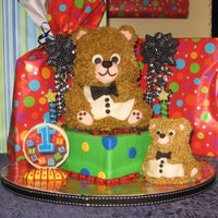 Bear Cake This was for my sons first birthday. The little one in front is his smash cake. It was perfect I think the smash cake was his favorite part...