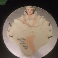 Marilyn Monroe And Her Famous Pose  I did this cake for my neices and sister all four birthdays at once. I had sobey's put Marilyn's face on a fondant sheet however...