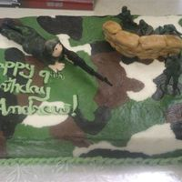 Army Cake  This cake was for Andrew he is really into the army and his mom wanted a camouflage background. I did it in buttercream icing. Handmade the...