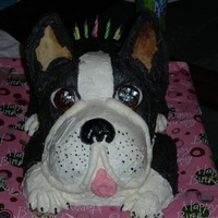 Boston Terrier Cake My granddaughter loves Boston Terriers and I made this cake for her 7th birthday.