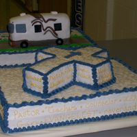 Cross Cake cross cake for pastor's retirement with word describing a pastor