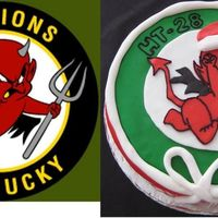 Squadron Christmas Party  My husband's helicopter squadron had a party for the kids. The left pic is his patch from his flightsuit. Satin Ice fondant with...