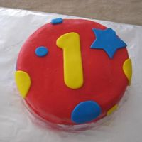 Smash Cake  Fondant. My son's first birthday. I was getting SCREAMED at by 2 kids the entire time so it was a rush job! This is the smash cake....