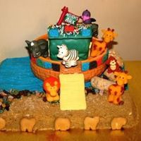 Noah's Ark 3D Cake Everything in this picture is edible except the animals. I was trying to make my own animals but I just didn't have enough time. Ark...