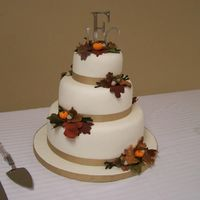 Fall Wedding  Fall themed wedding cake done as my wedding gift to my best friend. I live in Florida and the wedding was in Tennessee. I was also a...