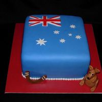 Australia Another going away cake for a guy from the vet's office moving to Australia. MMF with MMF accents.