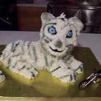 White Tiger   Made from rice krispie treats - using standup lamb pan and covered BC