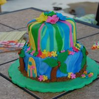 Luau Theme Birthday  This was a fun and colorful cake to make. There was a flamingo and a macaw on the other side of the cake. The accessories are fondant and...