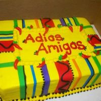Adios Amigos A chocolate cake for a Mexican themed going away party. Buttercream with fondant stripes and chilies.