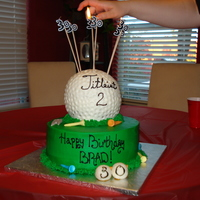 "Fore!  Golf theme cake for an avid golfer. Ball was made with the wilton 3-d ball pan, base of the cake was a 10"" cake. Chocolate cake with..."