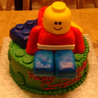 "Lego Man Cake Got this idea from someone here on cakecentral & it was a huge hit. 10"" vanilla cake iced in vanilla bc. Legos & Man were Rice..."