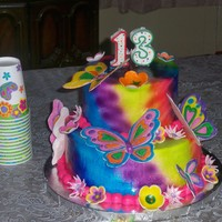 Butterflies This was a cake for my daughters friend and we made it together. She painted the butterflies but only the tops! Know that she sees the...