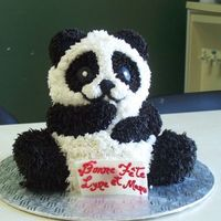Panda It was my first cake with hair tip..I had a lot of fun do that....vanilla and chocolate buttercream icing