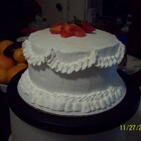 Another Three Milk Cake This is a 6' inch three milk cake with fresh strawberries and whipped cream.