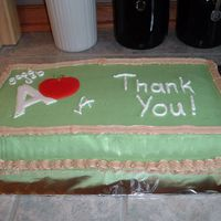 "2006 Teacher Appreciation This is my 2006 Teacher Appreciation Day cake. It is a chocolate cake with whipped cream buttercream frosting (from this site). The ""A..."