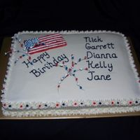 Fireworks Birthday A birthday party for July celebrants. Flag and fireworks are done in Royal Icing. Cake is 1/2 vanilla w/bavarian creme filling and 1/2...