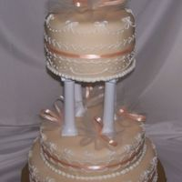 Ivory Wedding Cake Madeira Cake w/Raspberry Filling. Royal Icing piping with Tulle and Ribbon decorations. This is my first real wedding cake. I had done one...