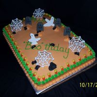 Happy Boo-Thday 1/2 choc, 1/2 vanilla sheet cake. Buttercream icing with royal icing decorations.