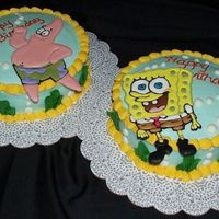 Spongebob And Patrick Cakes Birthday cakes for two little sisters. Figures are done in color flow. They are actually standing up a little so the writing really isn&#...