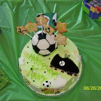 Krissys 10 made the soccer ball out of rice krispies treats that I formed into a ball while it was still warm, and then covered it with fondant.