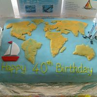 World Map stylised map of the world for sailing husband