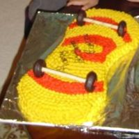 Skateboard   made this for my nephew's 7th bday. The icing is whipped pudding.